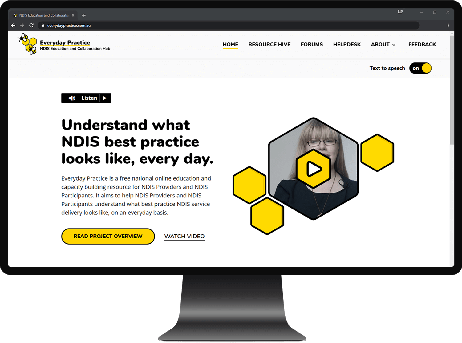 The Everyday Practice website displayed on a large screen