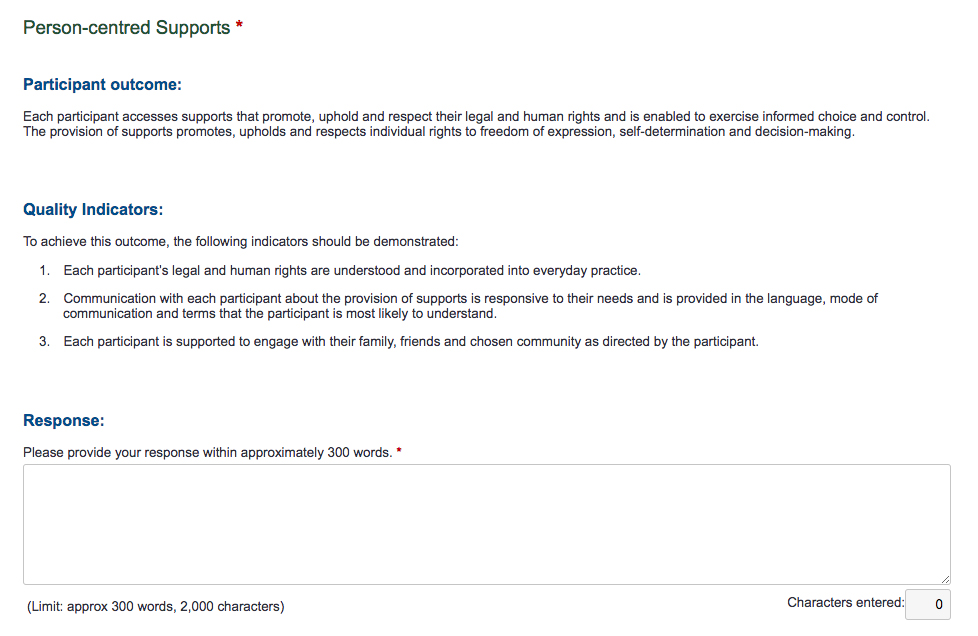 Screenshot of NDIS Self Assessment Person-centred supports page