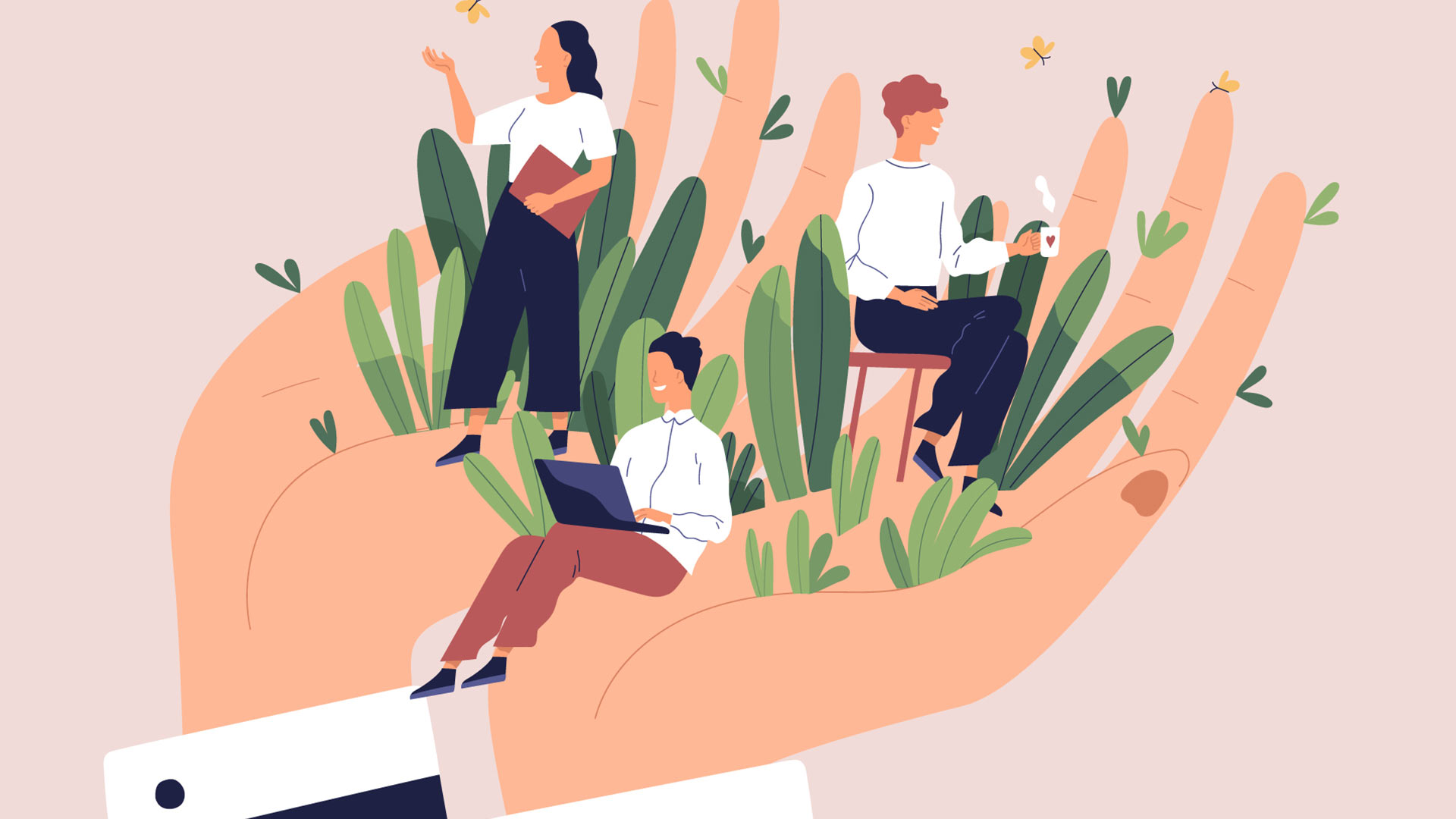 Illustration showing wellbeing in the workplace with 3 employees sitting in a lush oasis stemming from the director's hands